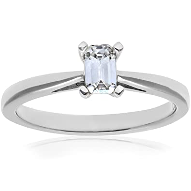 Naava Platinum 4 Claw Tapered Engagement Ring, F/VS1 EGL Certified Diamond, Emerald Cut, 0.35ct