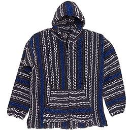 Baja Joe Striped Woven Zip Hoodie (Black/Blue/Grey S)