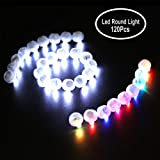 Neo LOONS 120pcs/lot Round Led Flash Ball Lamp Balloon Light Long Standby Time for Paper Lantern Balloon Light Party Wedding Decoration, 60 X White & 60 X Colorful (Color: White&multi-color 60+60 Pcs, Tamaño: 60+60 Pcs)