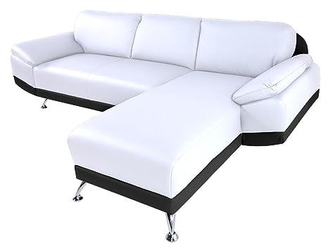 Relaxima Ottawa Canapé d'Angle Droit Bois Noir/Blanc 225 x 152 x 82 cm
