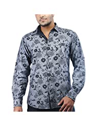 Just I Mens Denim Blue Shirt With Floral Prints