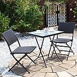 【カフェ テーブル ガーデンテーブル ラタン】PEラタンフォールディングテーブル・チェア3点セット ブラウン(BF-010-3A-S1)