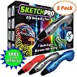 (3 Pack) LATEST EDITION 3D Pen Kit - 3D Printing Pen, Kid Gift w/ LED Screen - Art Toy w/ FREE Art Stencils for 3D Drawing - Arts and Crafts