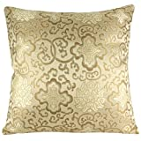 Silky Decorative Embroidered Oriental Cushion Cover / Pillow Case - Champagne Beige