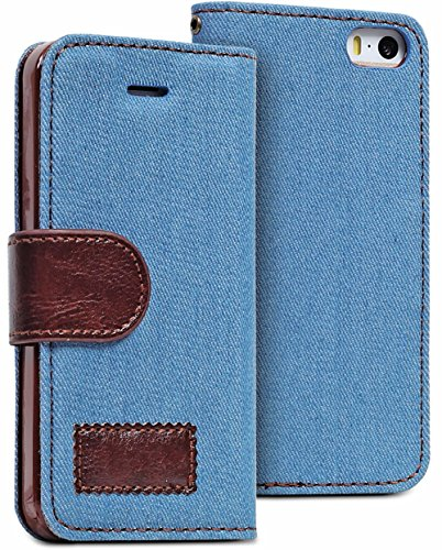 Mylife Denim Blue - Retro Design - Textured Koskin Faux Leather (Card And Id Holder + Magnetic Detachable Closing) Slim Wallet For Iphone 5/5S (5G) 5Th Generation Smartphone By Apple (External Rugged Synthetic Leather With Magnetic Clip + Internal Secure