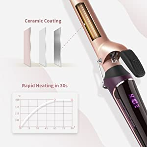 ELEHOT Hair Curling Wand Iron LCD Display 1 inch with Ceramic Tourmaline Ionic Coating Anti-scald Barrel & Adjustable Temperature Setting 230â??-