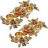 2 Sets Of Indian Decorations Diwali Candle Light Holder Diya Floral Arrangements