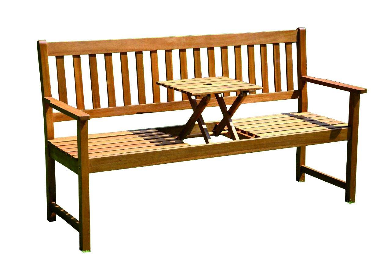 Brema 054040 Parkbank France 3-Sitzer Akazienholz FSC 100% mit klappbarem Mitteltisch, 040