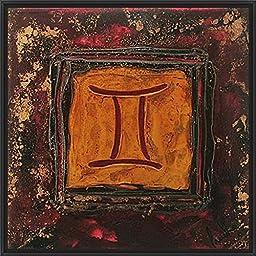 14in x 14in Gemini by Pierre Prud\'homme - Black Floater Framed Canvas w/ BRUSHSTROKES