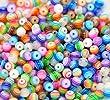 ca. 200 St�ck Multicolour gestreiften Acryl Perlen Spacer Beads 6 mm