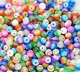 Toy - ca. 200 St�ck Multicolour gestreiften Acryl Perlen Spacer Beads 6 mm