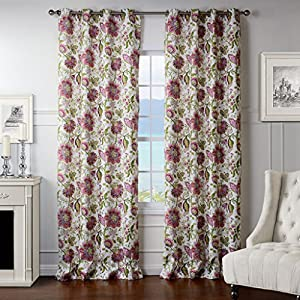 Iyuego Dreamlike Light Pink Floral Grommet Top Lined Blackout Curtains Draperies
