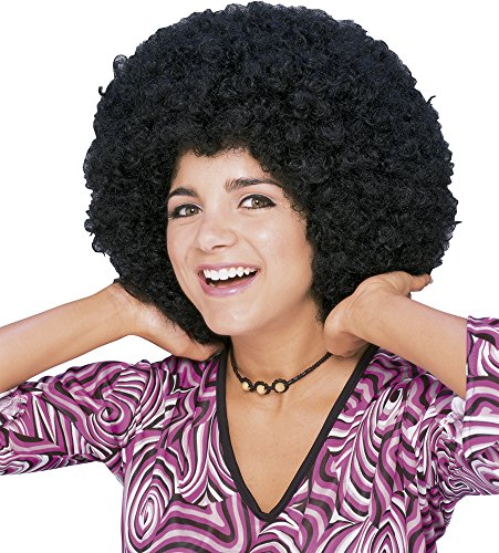 Rubie's Costume Humor Mid Length Afro Black Wig, Black, One Size - 1