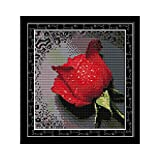 Anself DIY Handmade Needlework Counted Cross Stitch Set Embroidery Kit 14CT Rose with Dew Pattern Cross Stitching 26 27cm Home Decoration