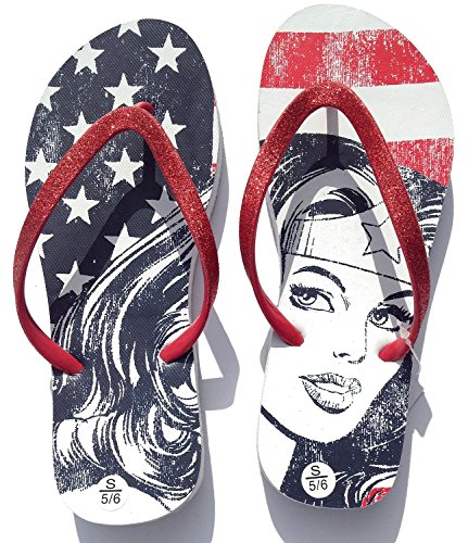 Wonder Woman Stars & Stripes Flip Flop Thong Sandals (X-Large 11-12)