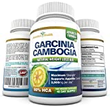 80% HCA 100% PURE MAXIMUM STRENGTH GARCINIA CAMBOGIA EXTRACT - 180 Count (45 Day Supply) - 3,000mg Per Day - All Natural Appetite Suppressant, Carb Blocker, Diuretic and Weight Loss Supplement Formula - Manufactured in a USA GMP Certified Facility and Third Party Tested for Purity