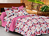 Casa Basics -144 TC Ezy Collection Pink Geometric 100% Cotton Double Bedsheet With 2 Pillow Covers