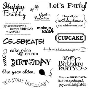 Fiskars Simple Stick Cling Rubber Stamps, Birthday Cheer
