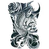 TAFLY Men's Black Koi Carp Fish Arm Leg Tattoo Temporary Tattoos Transfer Stickers Waterproof Body Art