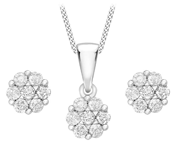 Carissima 9 ct White Gold 0.20 ct Diamond Set of Cluster Earrings and Pendant on Curb Chain Necklace of 46 cm/18 inch