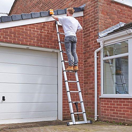 Echelle escalier t l scopique vonhaus de 3 8m en aluminium for Peindre aluminium exterieur