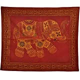 Little India Single Elephant Embroidery Cotton Figure Wall Hanging 510 (76.2 cm x 91.4 cm, Maroon)
