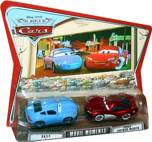 Picture of Mattel Movie Moments SALLY AND CRUISIN' LIGHTNING MCQUEEN Disney / Pixar CARS 1:55 Scale Die-Cast Vehicle 2 Pack Figure (B003DWCY9C) (Mattel Action Figures)