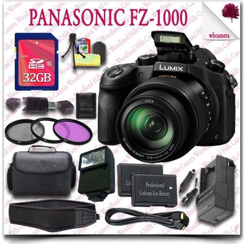Panasonic Lumix DMC-FZ1000 Digital Camera + 32GB SDHC Class 10 Card + SLR Gadget Bag + 3pc Filter Kit + External Slave Flash + Neoprene Neck Strap + HDMI Cable 17pc Panasonic Saver Bundle (Panasonic Dmc 1000 compare prices)