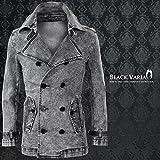 (ブラックバリア) BLACK VARIA トレンチコート デニム ケミカル ムラ ジャケット ダブル ショートコート グレーブラック 152853 L