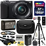 Sony NEX3 NEX-3 NEX3NL NEX-3NL B Compact Mirrorless Interchangeable Lens Digital Camera with 16-50mm f 3.5-5.6 Lens (Black) with Amateur Accessories Bundle Kit includes 64GB Class 10 SDHC Memory Card + Replacement (1200mAh) NP-FW50 Battery + Home Wall Charger with Car and European Adapter + Professional 60