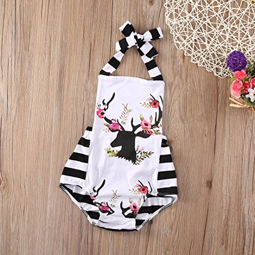 Newborn Baby Girl Clothes Xmas Reindeer Bodysuit Romper Playsuit Jumpsuit Outfit (6-12 Months, White)
