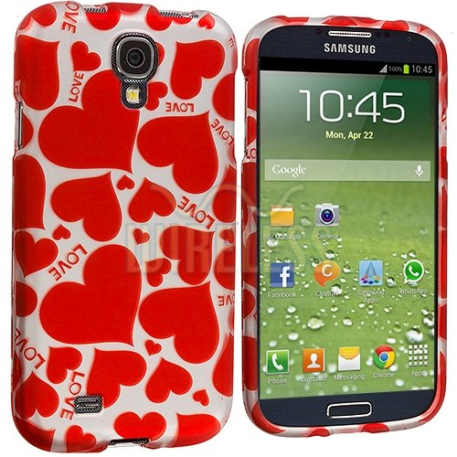 "Mylife Red Love Heart Overload Series (2 Piece Snap On) Hardshell Plates Case For The Samsung Galaxy S4 ""Fits Models: I9500, I9505, Sph-L720, Galaxy S Iv, Sgh-I337, Sch-I545, Sgh-M919, Sch-R970 And Galaxy S4 Lte-A Touch Phone"" (Clip Fitted Front And Back"