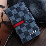 Luxury Brand Designer Black Checks Leather Wallet Cases for Apple iPhone 4 4G 4S for Men Checkered Checker Plaid Cheap Reviews