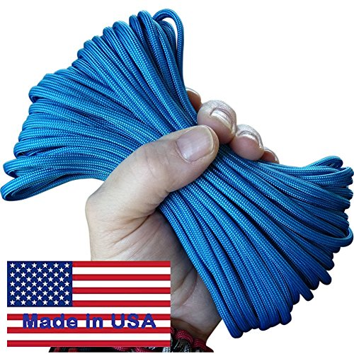 7-Strand Electric Royal Blue Paracord / Parachute Cord 100 Ft. Hank . Guaranteed U.S. Made Military Survival Cord, Type III,