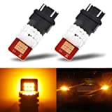 AUXITO Amber Yellow 3157 3156 LED Bulbs with High Bright 2835 Chips 3057 4057 4157 Lamps for Turn Signal Lights Blinker Lights(Pack of 2) (Color: Amber Yellow, Tamaño: 3156/3157 Amber)