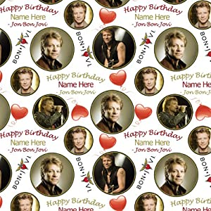 John Bon Jovi PERSONLAISED BIRTHDAY Gift Wrap / Wrapping Paper. Add your personalisation (NAME up to 15 characters) in the gift messaging facility at checkout. by Party Supplies Online
