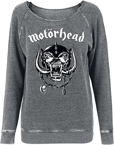 Merch Code - Motörhead Logo Burnout Open Edge 1710 _ girocollo, girocollo, Donna, Motörhead Logo Burnout Open Edge Crewneck, grigio scuro, M