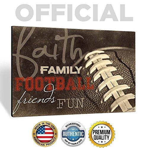 'Faith Family Football Friends Fun' 18 x 12 Wood Wall Art by Marla Rae - Man Cave Football Decor
