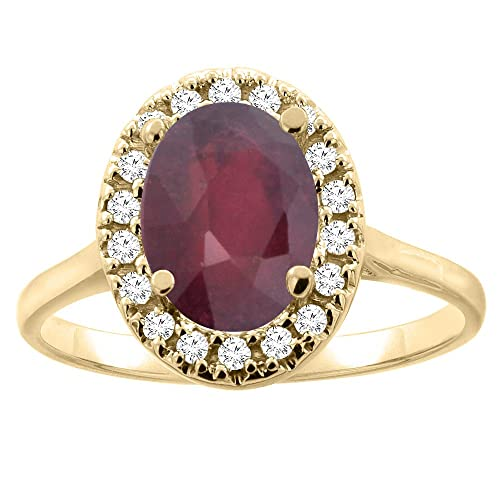14ct Gold Enhanced Ruby Halo Ring Oval 9x7mm Diamond Accent, sizes J - T