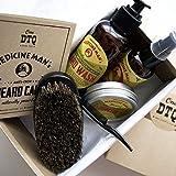 Medicine Man's Anti-Itch Beard Grooming Kit: Beard Wash, Oil, Beard & Mustache Pomade, Beard Brush -Earthy Scent- Stops Beard Itch & Beard Dandruff