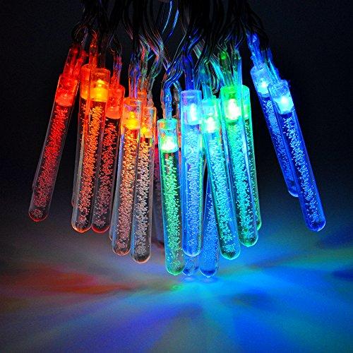 Princeway LED Batteriebetriebene Lichterkette Die Dekoration von Weihnachtsbaum, Halloween und Hochzeitsfeier- 20X LED Wasserblasensäulen/Kette- Betrieben von 3AA Batteriekasten mit 2X Einstellbare Leuchtvarianten- Multi Farbe Lichtfarbe