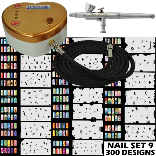Master Airbrush Model G34 Airbrushing System with Model C14G Gold Heart Shaped Mini Airbrush Air Compressor and an Airbrush Nail Art Stencil Set (Set 9 with 300 Designs)