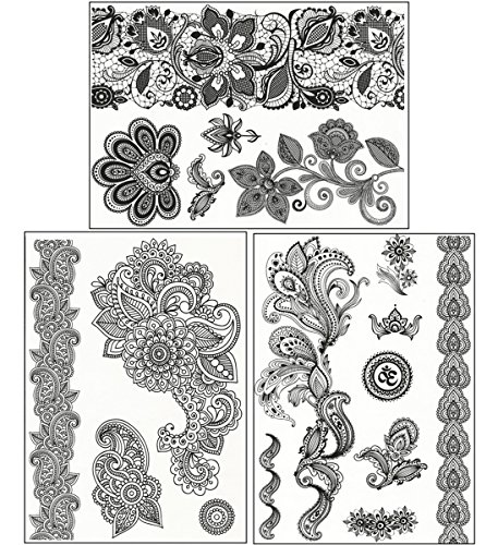 chictats-lace-black-flash-temporary-tattoos-pack-of-3-sheet-body-art-jewellery-for-women-girls-water