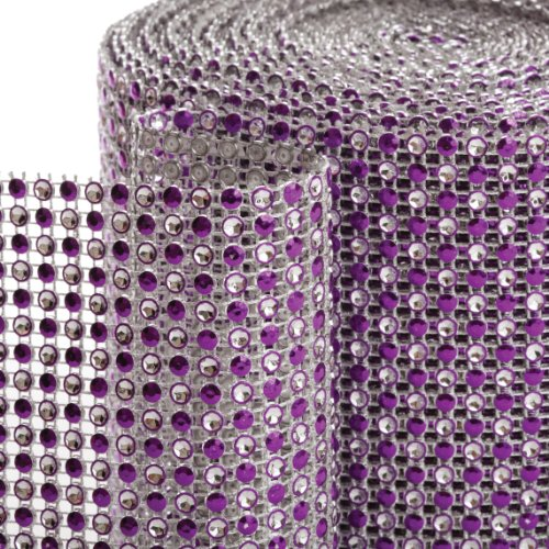 Koyal 2-Tone Diamond Rhinestone Ribbon Wrap, Purple