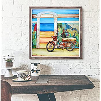 Pit Stop - Danny Phillips art print, UNFRAMED, motorcycle, beach, carribean Inspired funky retro vintage mixed media art wall & home decor poster, ALL SIZES
