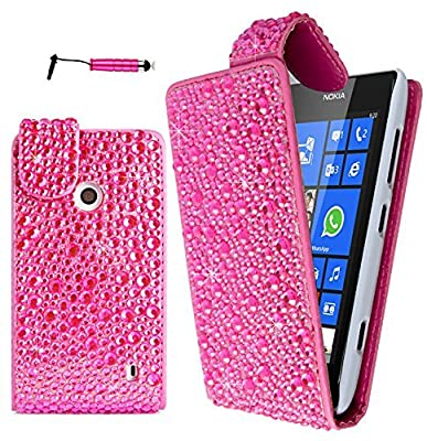 Magic Global Gadgets ® - Pink Sparkly Diamond Bling Rhinestone Luxury Leather Flip Cover Case Pouch For Nokia Lumia 520 / Nokia Lumia 525 / Nokia Lumia 521 RM-917 from Magic Global Gadgets
