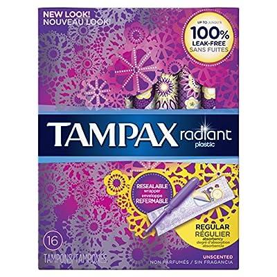 Radiant plastic Regular absorbency unscented tampons 16ct