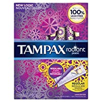 Radiant plastic Regular absorbency unscented tampons 16ct