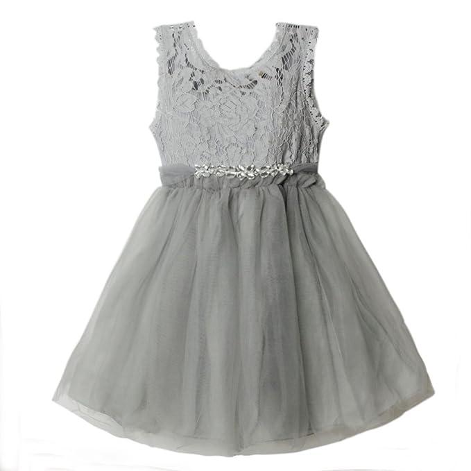 eTree Girls' Lace Collar Yarn Sleeveless Belt Cotton Lined Tutu Sundress Dress
