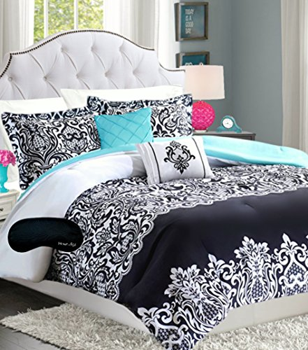 Buy Teen Girls Bedding Damask Comforter Black White Teal Aqua Full Queen SUPER SET + 2 Matching Sham...
